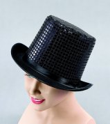 Felt top hat with black sequins BH382