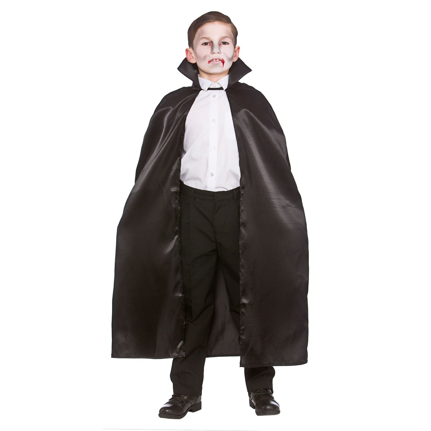 Child one size black cape with collar (wicked egb4