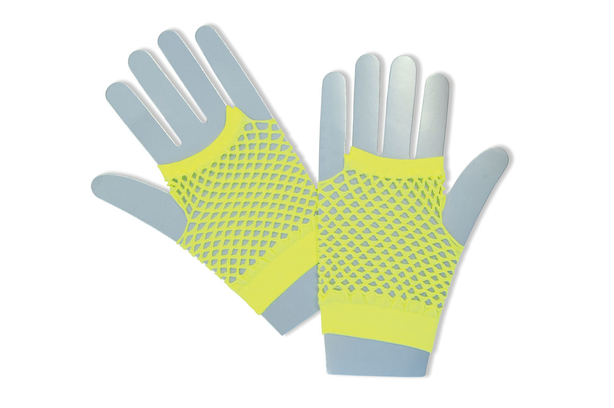 Yellow neon fingerless gloves BA573