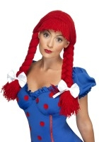 Red rag doll wig 39419