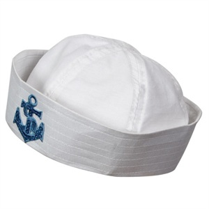 White sailor hat with blue sequin anchor AC-9136