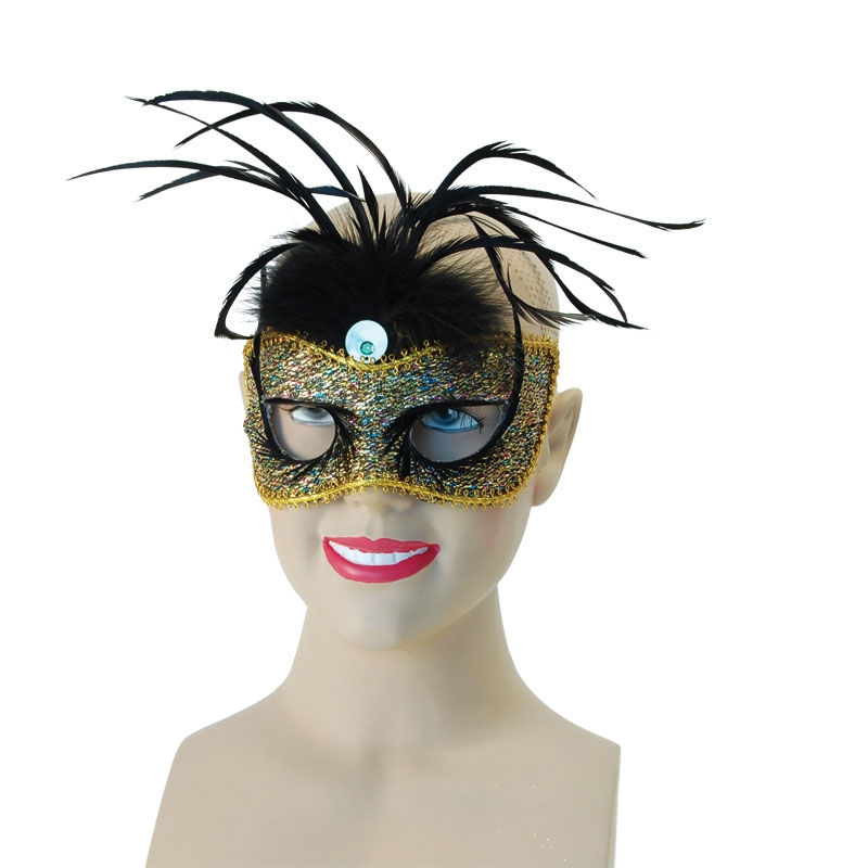Lurex with black feather eye mask SEM086